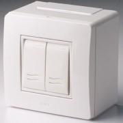 Коробка в сборе с 2-клавишным выключателем, коричневая