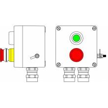 Пост управления Ex из GRP; 1Ex d e IIC T6 Gb X / Ex tb IIIB T80°C Db X /IP66; Аварийная кнопка красная, 1NC/1NO -1 шт.; Кнопка Зеленая, 1NC/1NO-1 шт.; С:ввод D5,5-13мм под бронированный кабель Ni -2 шт.