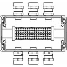 Коробка клеммная Ex из алюминия; 1Ex e IIC Т5 Gb / Ex tb IIIB T95°C DbIP66; клеммы 4мм2-20шт; А,C: ввод D5.5-13мм под небронированный кабель Ni-6шт