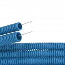Труба ППЛ гибкая гофр. д.25мм, лёгкая с протяжкой, 50м, цвет синий
