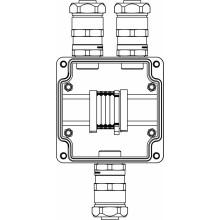 Коробка клеммная Ex из GRP; 1Ex e IIC T5 Gb IP66; Клеммы 4мм2-5шт; А,C: ввод D10.5-18мм под небронированный кабель в металлорукаве DT20мм Ni-3шт
