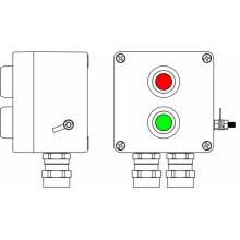 Пост управления Ex из GRP; 1Ex d e IIC T6 Gb X / Ex tb IIIB T80°C Db X /IP664 Кнопка Зеленая, 1NC/1NO -1 шт.; Кнопка красная,1NC/1NO - 1 шт.; С:ввод D5,5-13мм под бронированный кабель Ni -2 шт.