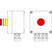 Пост управления Ex из алюминия, 1Ex d e IIC T6 Gb X / Ex tb IIIB 80° CDb X / IP66; Кнопка аварийная красная, 1NC/1NO-1шт; C: ввод D5,5-13ммпод бронированный кабель, Ni -2 шт.