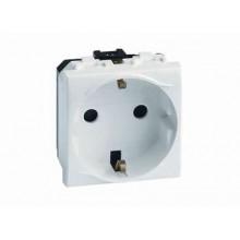 Электрическая розетка с заземлением, со шторками, белая, 2мод.