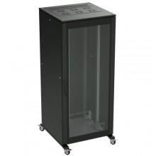 Напольный шкаф 24U 800х800 двери стекло/сплошная, укомплектован вводом и заглушками RAL 9005