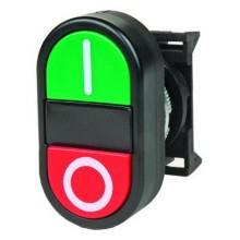 Кнопка двойная плоская, черная