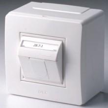 Коробка в сборе с 1 розеткой RJ45, кат.5е (телефон / компьютер), коричневая (розница)