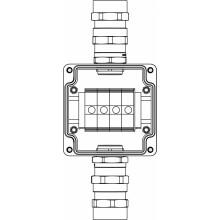 Коробка клеммная Ex из алюминия; 1Ex e IIC Т5 Gb / Ex tb IIIB T95°C DbIP66; клеммы 35мм2-4шт; А,С: ввод под бронированный кабель d15-24мм D20-31мм Ni-2шт