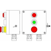 Пост управления Ex из GRP; 1Ex d e IIC T6 Gb X / Ex tb IIIB T80°C Db X /IP66; Аварийная кнопка красная, 1NC/1NO -1 шт.; Кнопка зеленая, 1NC/1NO-1 шт.; Лампа красная 20V-250V -1 шт.; С: ввод D5,5-13мм под брон.кабель Ni -2 шт.