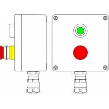 Пост управления Ex из GRP; 1Ex d e IIC T5 Gb X IP66; Ex tb IIIB T95C DbX; Аварийная кнопка красная, 1NC/1NO -1 шт.; Кнопка Зеленая, 1NC/1NO -1шт.;B: ввод D8-13мм под небронированный кабель в металлорукаве Dt 20мм.Ni 1 шт.