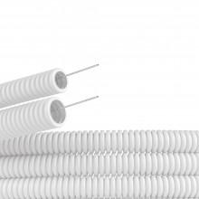 Труба ПЛЛ гибкая гофр. не содержит галогенов д.32мм, ПВ-0, с протяжкой,25м, цвет белый