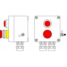 Пост управления Ex из GRP; 1Ex d e IIC T6 Gb X / Ex tb IIIB T80°C Db X /IP66; Аварийная кнопка красная, 1NC/1NO -1 шт.; Лампа красная 20V-250V 1шт.; С: ввод D5,5-13мм под бронированный кабель Ni -2 шт