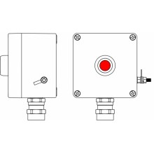 Пост управления Ex из GRP; 1Ex d e IIC T6 Gb X / Ex tb IIIB T80°C Db X /IP66; Кнопка красная,1NC/1NO - - 1 шт.; С:ввод D5,5-13мм подбронированный кабель Ni -1 шт.
