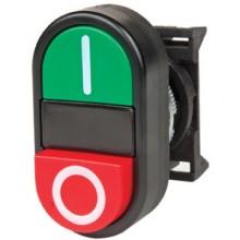 Кнопка двойная выпуклая с линзой для подсветки
