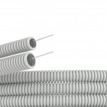Труба ПВХ гибкая гофр. д.20мм, лёгкая с протяжкой, 25м, цвет серый