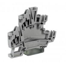 Клеммный зажим. Двухуровневый. Со штыревыми контактами. Тип HCD.1/GR. Серый. 1,5 кв.мм.