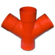 Соединение для четырех двустенных труб,45 ,полипропилен,д.200