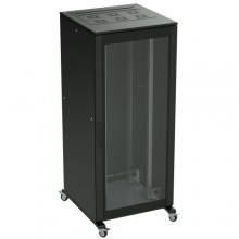 Напольный шкаф 24U 600х1000 двери стекло/сплошная, укомплектован вводом и заглушками RAL9005