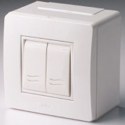 Коробка в сборе с 2-клавишным выключателем, белая