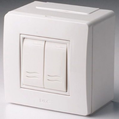10001 | Коробка в сборе с 2-клавишным выключателем, белая