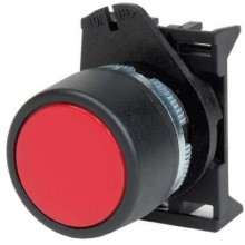 Кнопка плоская без фиксации, черная - серия Хром