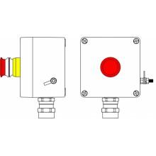 Пост управления Ex из GRP; 1Ex d e IIC T6 Gb X / Ex tb IIIB T80°C Db X /IP66; Аварийная кнопка красная, 1NC/1NO -1 шт.; С: ввод D5,5-13мм подбронированный кабель Ni -1 шт.