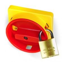 Желтая площадка 67х67 - красная ручка с д.22мм с замком для серии АМ
