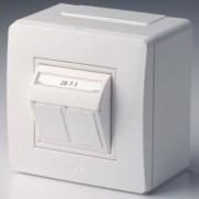 Коробка в сборе с 2 розетками RJ45, кат.5е (телефон / компьютер), белая