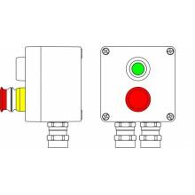 Пост управления Ex из алюминия, 1Ex d e IIC T6 Gb X / Ex tb IIIB 80° CDb X / IP66; Кнопка аварийная красная, 1NC/1NO-1шт; Кнопка зеленая, 1NC/1NO-1шт; С: ввод D5,5-13мм под бронированный кабель Ni -2 шт.