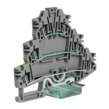HDE.2/GR пружинный зажим трех-уровневый c заземлением на нижнем уровне 2,5 кв.мм, серый