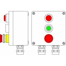 Пост управления Ex из алюминия, 1Ex d e IIC T6 Gb X / Ex tb IIIB 80° CDb X / IP66; Кнопка аварийная красная, 1NC/1NO-1шт; Кнопка зеленая, 1NC/1NO-1шт; Лампа красная 20V-250V -1 шт.; С: ввод D5,5-13мм подброн. кабель Ni -2 шт.