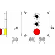 Пост управления Ex из GRP; 1Ex d e IIC T6 Gb X / Ex tb IIIB T80°C Db X /IP66; Аварийная кнопка красная, 1NC/1NO -1 шт.; Кнопка черная,1NC/1NO -2шт.; С:ввод D5,5-13мм под бронированный кабель Ni -2 шт.