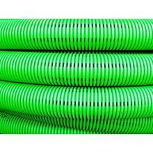 Двустенная труба ПНД гибкая дренажная д.160мм, SN6, перфорация 360 град., в бухте 50м, цвет зеленый