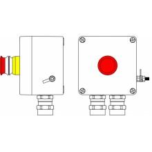 Пост управления Ex из GRP; 1Ex d e IIC T6 Gb X / Ex tb IIIB T80°C Db X /IP66; Аварийная кнопка красная, 1NC/1NO -1 шт.; C: ввод D5,5-13мм подбронированный кабель, Ni -2 шт.