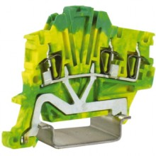 HTE.1/1+2, зажим для заземления, 1 ввод/2 вывода, 1,5 кв.мм желто-зеленый