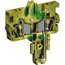 Разъем типа гнездо, с пружинным зажимом на 2 контакта для клемм типа HVTE. Желто-зеленый. 2,5 кв. мм.