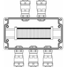 Коробка клеммная Ex из алюминия; 1Ex e IIC Т5 Gb / Ex tb IIIB T95°C DbIP66; клеммы 2.5мм2-25шт; А,С: ввод D8-13мм под небронированный кабель в металлорукаве DT 20мм Ni-5шт
