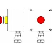 Пост управления Ex из GRP; 1Ex d e IIC T5 Gb X IP66; Ex tb IIIB T95C DbX; Аварийная кнопка красная, 1NC/1NO -1 шт.; B: ввод D8-13мм поднебронированный кабель в металлорукаве Dt 20мм. Ni 1 шт.