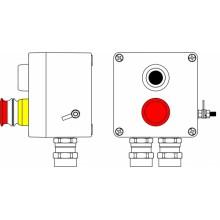Пост управления Ex из GRP; 1Ex d e IIC T6 Gb X / Ex tb IIIB T80°C Db X /IP66; Аварийная кнопка красная, 1NC/1NO -1 шт.; Кнопка черная, 1NC/1NO -1 шт.; C: ввод D5,5-13мм под бронированный кабельNi -2 шт.