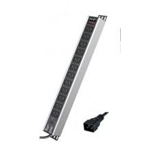 """Блок распределения питанияя вертикальный для 19"""" шкафов, 16A 12 Х C19, индикатор питания, тока, защита от перегрузки, вх. разъём С2"""