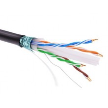 Информационный кабель экранированый F/UTP 4х2 CAT6, PE, чёрный