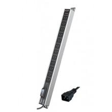 """Блок распределения питания вертикальный для 19"""" шкафов, 16A 12 Х IEC60320 C19, автоматический выключатель 1Р, индикатор тока, защит"""