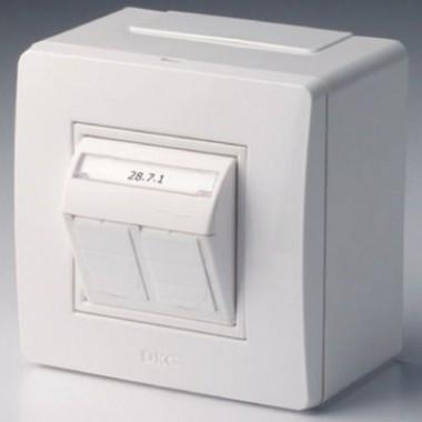10656B   Коробка в сборе с 2 розетками RJ45, кат.5е (телефон / компьютер), коричневая