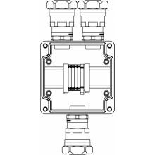 Коробка клеммная Ex из GRP; 1Ex e IIC T5 Gb / Ex tb IIIB T95°C Db /IP66; Клеммы 4мм2-5шт; А,С: ввод D10.5-18мм под небронированный кабель в металлорукаве DT26мм Ni-3шт