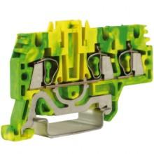 HTE.2/1+2, зажим для заземления, 1 ввод/2 вывода, 2,5 кв.мм желто-зеленый