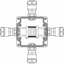 Коробка клеммная Ex из GRP; 1Ex e IIC T5 Gb IP66; Ex tb IIIB T95C Db; Клеммы 2.5мм2-6шт; А-B-C-D: ввод D8-13мм под небронированныйкабель в металлорукаве DT20мм Ni-4шт