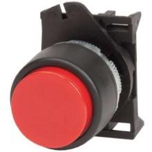 Кнопка выпуклая без фиксации, красная - серия Хром