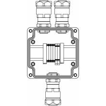 Коробка клеммная Ex из GRP; 1Ex e IIC T5 Gb IP66; Ex tb IIIB T95C Db; Клеммы 2.5мм2-6шт; А,С: ввод D8-13мм под небронированный кабель в металлорукаве DT20мм Ni-3шт