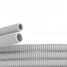 Труба ПВХ гибкая гофр. д.20мм, лёгкая без протяжки, 25м, цвет серый