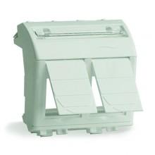 Адаптер для двух информационных разъемов Keystone, белый, 2 мод.